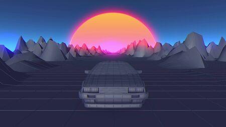 Cyberpunk car in 80s style moves on a virtual neon landscape. 3d illustration. Foto de archivo - 129359433
