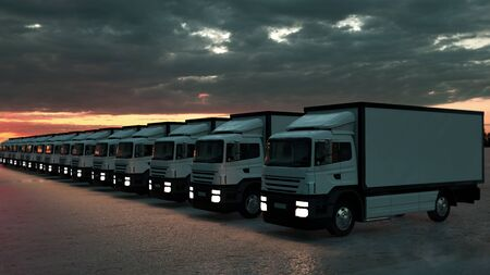 Group of cargo trucks in row. Front view. Logistics concept. 3d illustration. Stock Photo