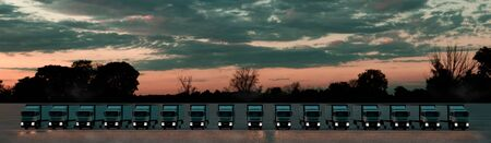 Group of cargo trucks in row. Front view. Logistics concept. 3d illustration. Stockfoto