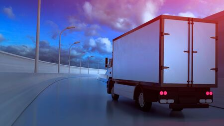 3D illustration of white truck moving on highway in sunny summer day.