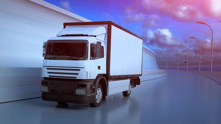 White truck moving on highway in sunny summer day. 3D illustration.