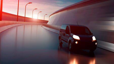 Delivery van on highway. Transport and logistic concept. 3D Illustration. Stock fotó