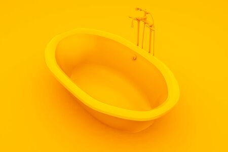 Modern bathtub isolated on yellow background. 3d illustration. Imagens