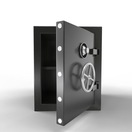 Security metal safe with empty space inside. 3d rendering.