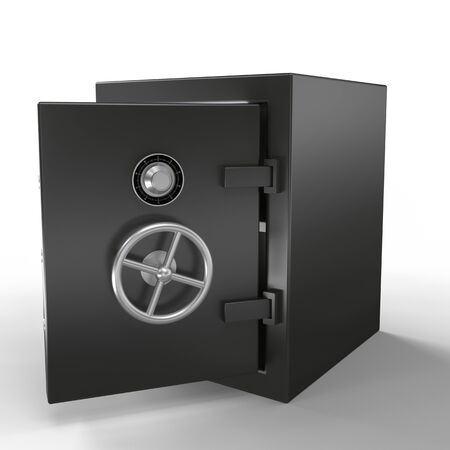 Open metal bank security safe isolated on white background. 3D illustration. Imagens