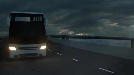 Tourist white bus on the road. Touristic and travel concept. 3d rendering.