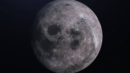 Detailed 3d Rendering of moon, dark space background.
