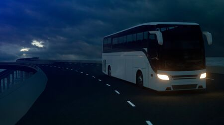 Tourist white bus driving on the bridge under an ominous cloudy sky. 3d Rendering.