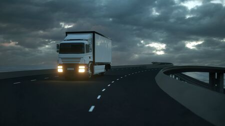 3d rendering of a Delivery Truck on the Road with Beautiful Sky. Imagens