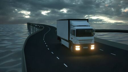 Delivery Truck with Other Commercial Vehicles on Bridge 3d rendering.