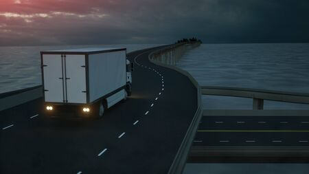 3d model of white truck on the bridge. 3d rendering.