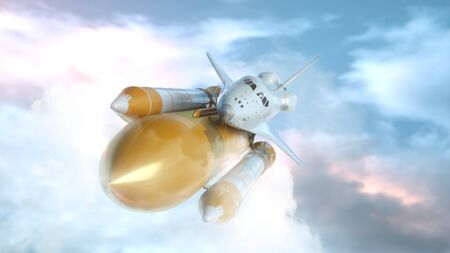 Space Shuttle Flying Over The Clouds. 3d rendering.