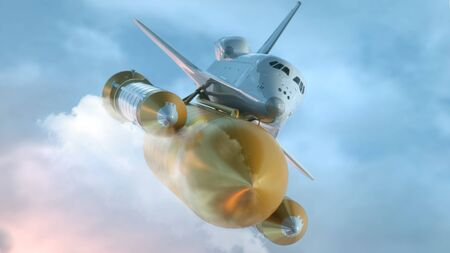 Space Shuttle Flying Over The Clouds. 3d illustration. Imagens