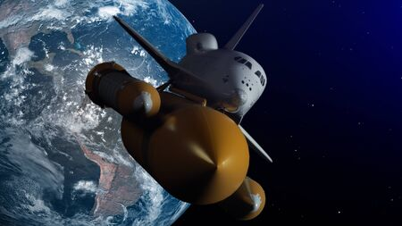 Space Shuttle In Space. Planet earth on background. 3D Illustration.