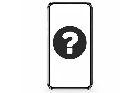 Smartphone with question mark on the screen. 3d illustration. Stockfoto