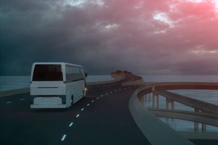 Travel concept.. Tourist white bus on the road. 3d rendering.