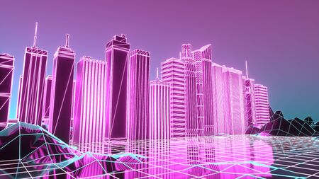 Retro Sci-Fi Background with Futuristic City. Suitable for any design in 1980s style. 3d illustration.