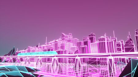 Render hologram futuristic city neon light. 3d illustration.