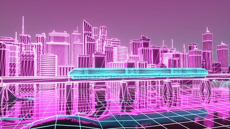 The futuristic neon night city, train traffic on the railway bridge. 3d illustration. Imagens