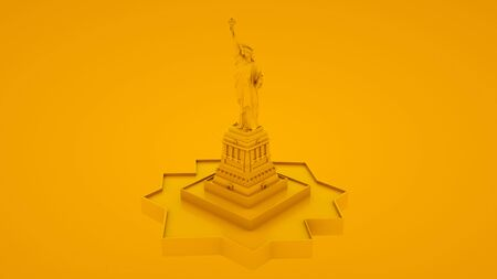 Statue of Liberty Isolated. Minimal idea concept. 3d illustration.