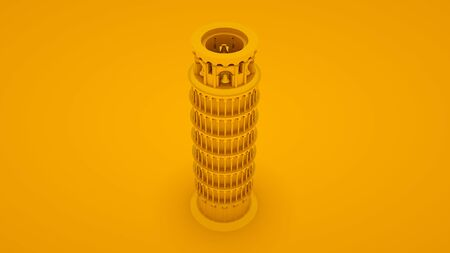 Yellow leaning tower of pisa. Minimal idea concept. 3d illustration. Imagens