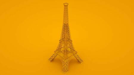 Yellow Eiffel tower. Minimal idea concept. 3d illustration.