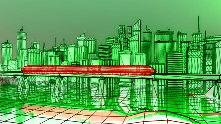 The futuristic night city, train traffic on the railway bridge. 3d illustration. Stockfoto