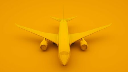 Plane, Yellow Background. Minimal idea concept. 3d illustration. Imagens
