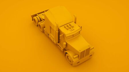 Yellow american truck. Minimal idea concept. 3d illustration. Imagens