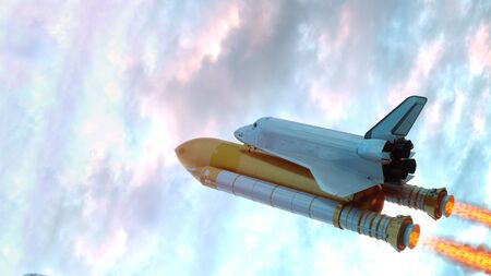 Space Shuttle Flying Over The Clouds. 3d illustration. 스톡 콘텐츠