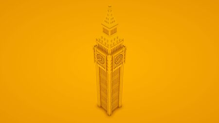 Big Ben Isolated. Minimal idea concept. 3d illustration. Imagens