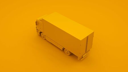 Yellow Truck. Minimal idea concept. 3d illustration. Imagens