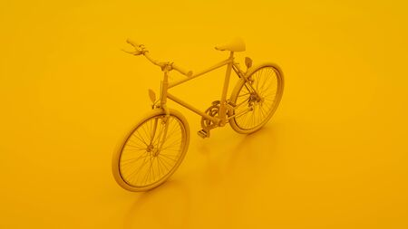 Yellow Bicycle. Minimal idea concept. 3d illustration.