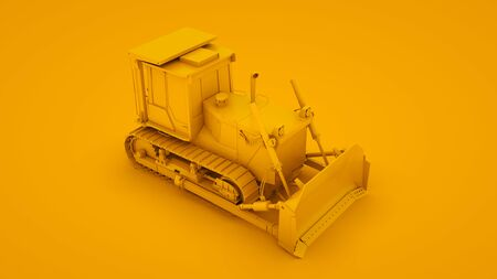 Yellow bulldozer. Minimal idea concept. 3d illustration. Imagens