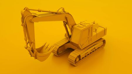 Yellow Excavator. Minimal idea concept. 3d illustration.