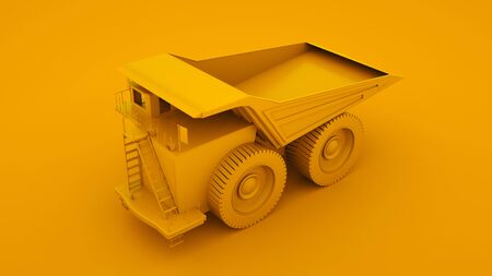 Yellow Mining Truck. Minimal idea concept. 3d illustration.