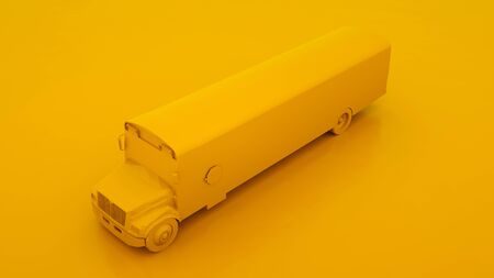 Yellow school bus. Minimal idea concept. 3d illustration.