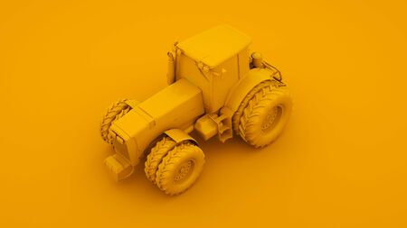 Yellow Tractor. Minimal idea concept. 3d illustration. Imagens