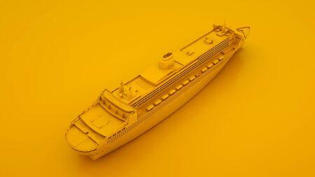Luxury Cruise Ship. Minimal idea concept. 3d illustration.
