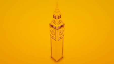 Big Ben Isolated isolated on yellow background. 3d illustration.