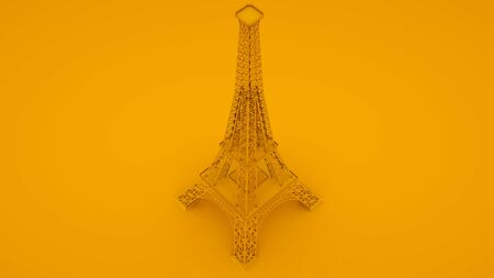 Yellow Eiffel tower isolated on yellow background. 3d illustration.