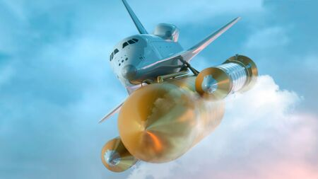 Space Shuttle Flying Over The Clouds. 3d illustration. Stock fotó