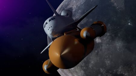 Space Shuttle In Space. The moon on the background. 3d illustration.