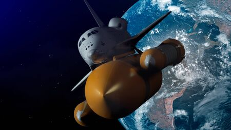 Space Shuttle In Space. Planet earth on background. 3d illustration. Stock fotó