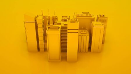 Yellow abstract 3d city landscape with skyscrapers. Top view. 3d illustration. Banco de Imagens