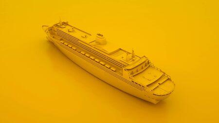 Luxury Cruise Ship isolated on yellow background. 3d illustration. Stock Photo