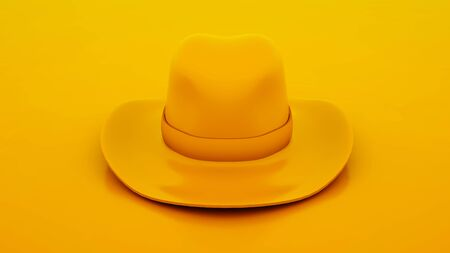 Cowboy hat isolated on yellow color background. 3d illustration.