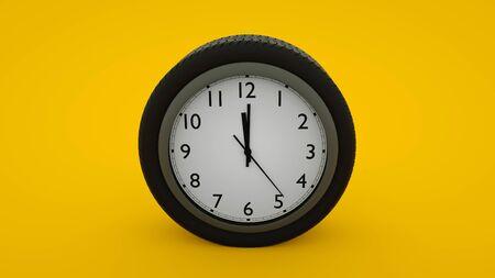 Car wheel alert concept isolated on yellow background. 3d illustration. Stockfoto