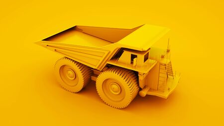 Yellow Mining Truck isolated on yellow background. 3d illustration.