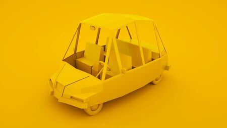 Yellow, isometric low poly cartoon car. 3D illustration.